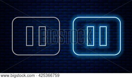 Glowing Neon Line Pause Button Icon Isolated On Brick Wall Background. Vector