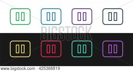 Set Line Pause Button Icon Isolated On Black And White Background. Vector