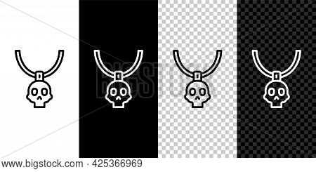 Set Line Necklace Amulet Icon Isolated On Black And White, Transparent Background. Vector