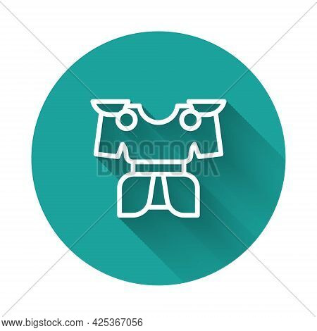 White Line Body Armor Icon Isolated With Long Shadow Background. Green Circle Button. Vector
