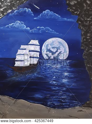 The Picture Is A Fabulous Journey Blue The View From The Cave To The Night Sea Illuminated By A Silv