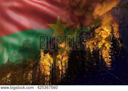 Forest Fire Natural Disaster Concept - Heavy Fire In The Woods On Burkina Faso Flag Background - 3d
