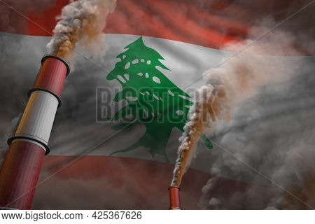 Lebanon Pollution Fight Concept - Two Big Industrial Pipes With Heavy Smoke On Flag Background, Indu