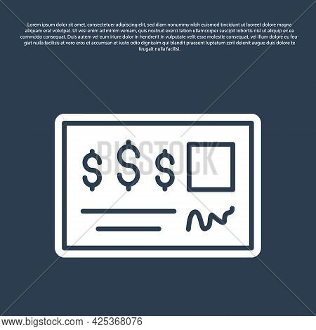 Blue Line Blank Template Of The Bank Check And Pen Icon Isolated On Blue Background. Checkbook Chequ