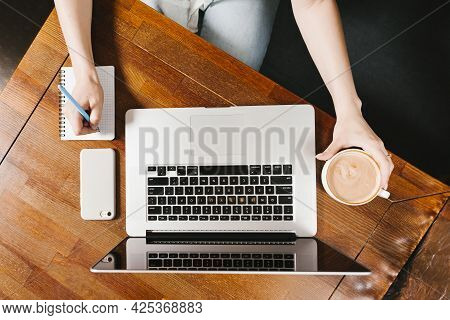Topview Workspace With Laptop Coffee. High Quality Beautiful Photo Concept
