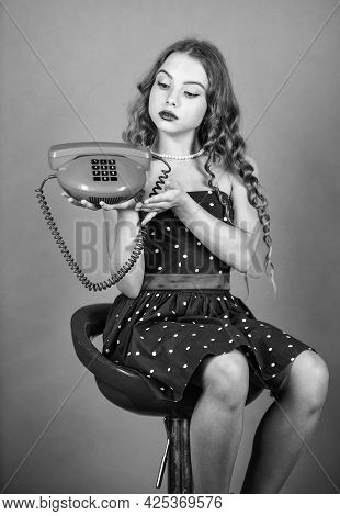 Confident Beauty. Pinup Girl Happy Conversation. Kid Sit On Chair Dial Phone. Communication Concept.