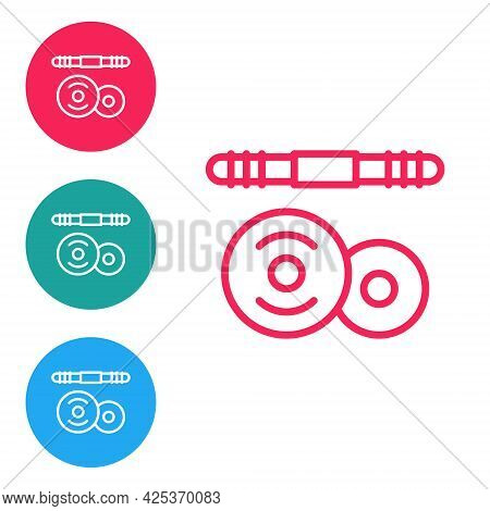 Red Line Barbell Icon Isolated On White Background. Muscle Lifting Icon, Fitness Barbell, Gym, Sport