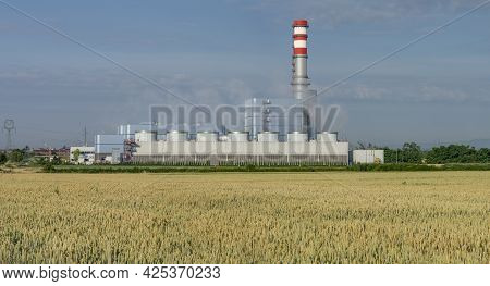 Gas-steam Combined Cycle Power Plant Malzenice, Slovakia. The Power Plant Incinerates Natural Gas.