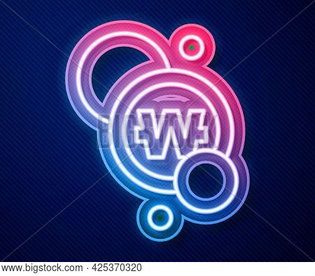 Glowing Neon Line South Korean Won Coin Icon Isolated On Blue Background. South Korea Currency Busin