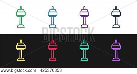 Set Line N Seoul Tower In South Korea Icon Isolated On Black And White Background. Seoul Tower, Nams