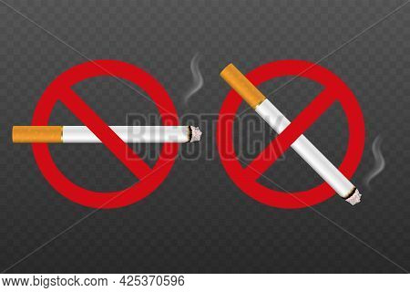 Vector No Smoking Area Sign, Symbol, Label Set Isolated. Realistic 3d Cigarette With Smoke. Do Not S