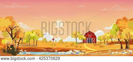 Autumn Landscape Wonderland Forest With Grassland, Mid Autumn Landscape With Maples Orange Foliage T