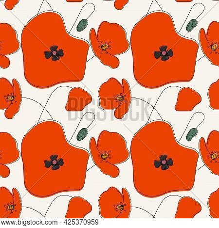 Seamless Simple Cute Hand Drawn Pattern Of Large Red Poppies On Light Background.endless Floral Orna