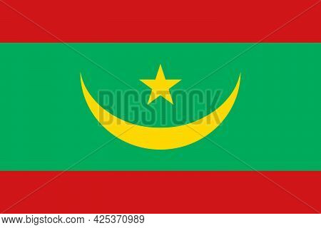National Flag Of Mauritania In The Original Colours And Proportions(2:3)