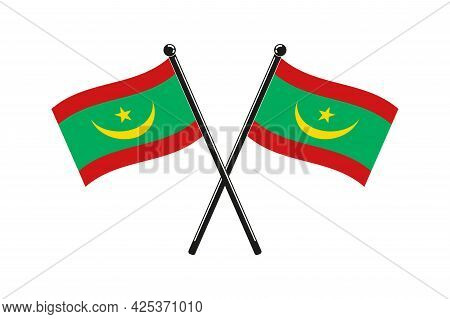 National Flags Of Mauritania In The Original Colours Crossed On The Sticks
