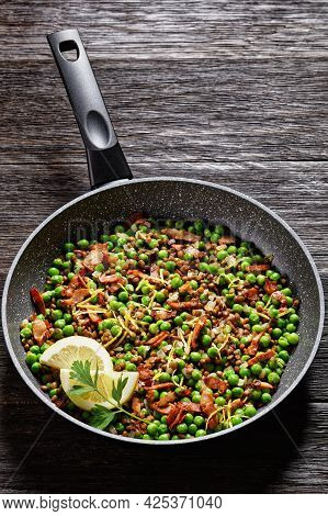 Lebanese Warm Lentil And Green Peas Salad With Bacon, Lemon Zest And Lemon And Olive Oil Dressing Se