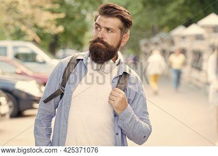 Long Beard Is Style For Him. Bearded Man Travel Urban Outdoors. Hipster With Stylish Beard Hair. Bea