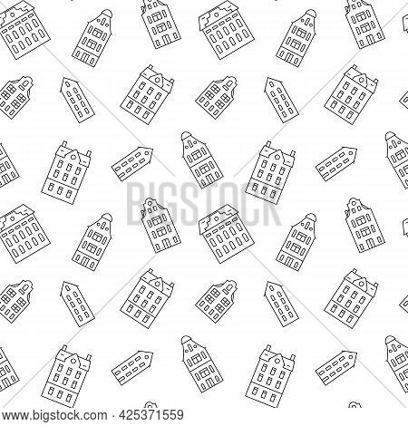 Seamless Pattern With European Holland Houses. Outline Old Historical Buildings. Vector Illustration