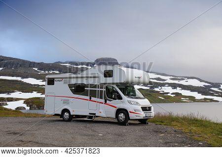 Haukelifjell, Norway - July 30, 2020: Camper Van Vacation In Haukelifjell Mountains, Norway. Norway