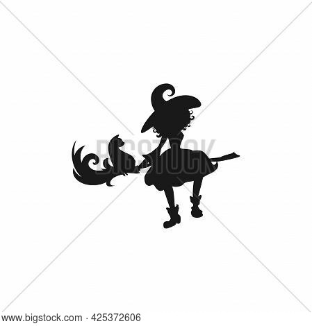 Witch With Cat Flies On The Broom. Funny Hag In Hat Silhouette. Magic, Fantasy. Vector Illustration.