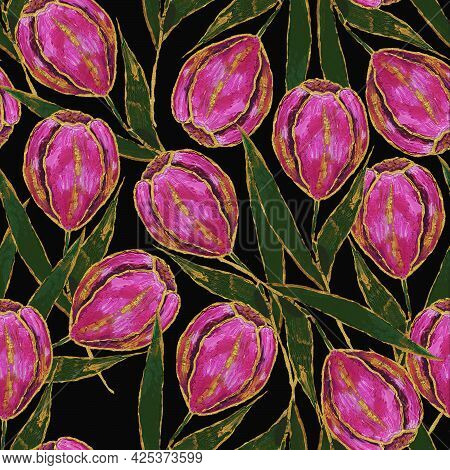 The Tulip Is A Pink Flower With Green Petals And A Stem Blooms In Spring With A Golden Border On A B