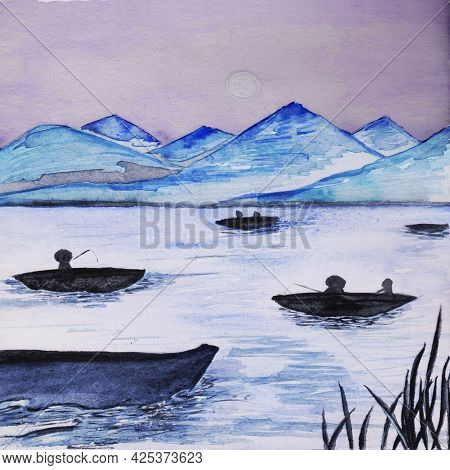 Fishermen In Chinese Or Vietnamese Hats In Boats On A Lake, River Or Other Reservoirs At The Foot Of