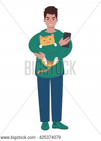 Modern Young Caucasian Man With Cat And Smartphone