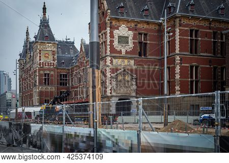 26 June 2021, Amsterdam, The Netherlands, Construction Site In The City Central Area Near The Centra
