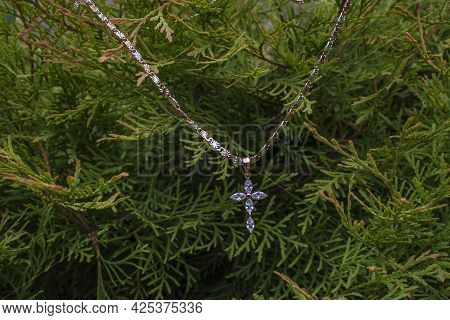 Moss In The Forest, Chain With Cross, Gold On Grass, Jewelry, Greens,