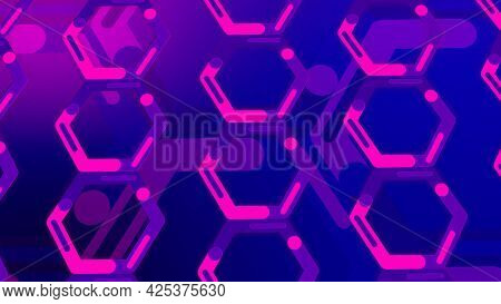 Blue And Pink Background Of Hexagons In Rotating Motion, Seamless Loop. Motion. Beautiful Spinning F