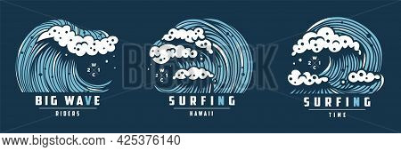 Surfing Wave With Foam. Hawaii Marine Ocean Tide