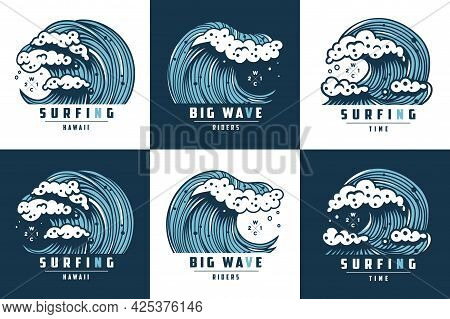 Tropical Wave For Surfing. Set Of Hawaii Summer Tide With Foam For Print. Wavy Sea Or Ocean For Mari