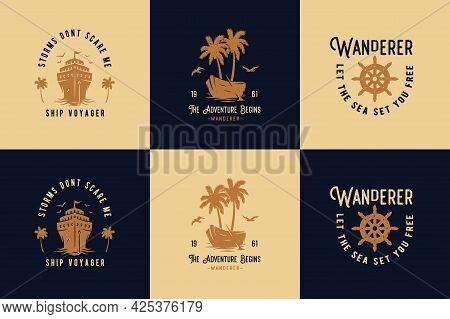 Summer Wanderer. Marine Wheel For Sailor T-shirt Sea Print. Nautical Ocean Design Emblem With Ship R