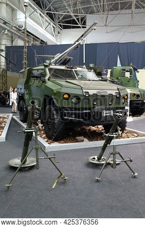 Armored Car. Armored Car And Mortar At The International Exhibition Arms And Security - 2021. Select