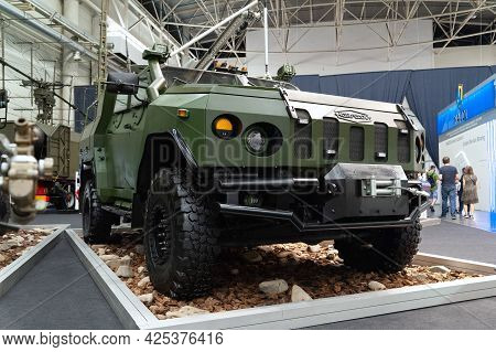 Military Armored Vehicle. Armored Car Novator On Display At The International Exhibition Arms And Se