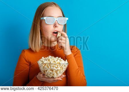 Emotional Portrait Of Young Woman In Cinema Glasses Watching 3d Movie. Keen Focused Teenager Girl Mo