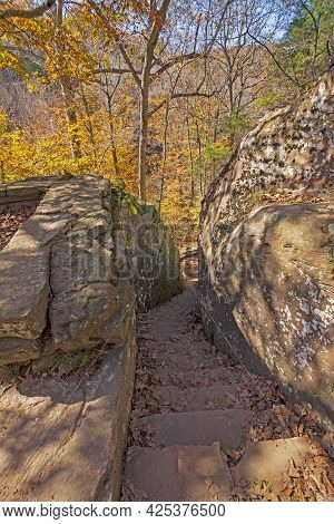 Hand Cut Stairway Between The Rocks In The Bell Smith Springs Scenic Area In Illinois