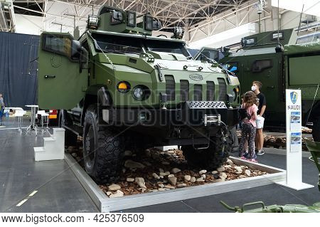 Military Armored Vehicle. Armored Car Varta On Display At The International Exhibition Arms And Secu