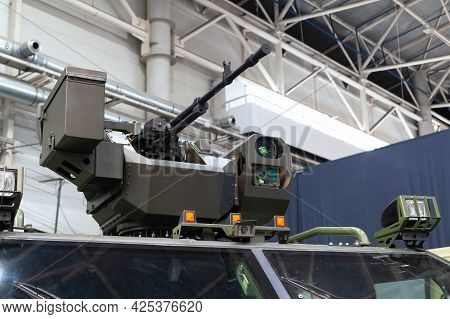 Combat Module Of An Armored Vehicle. Armored Car Novator With A Combat Module On Display At The Inte