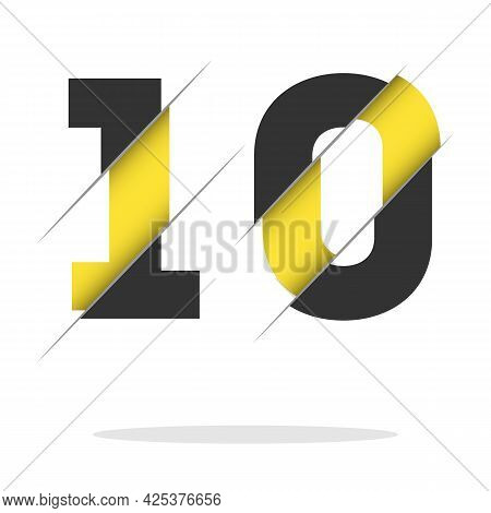 Number Ten, 10 Isolated On White Background With Shadow. Vector Illustration, Easy To Edit. Template