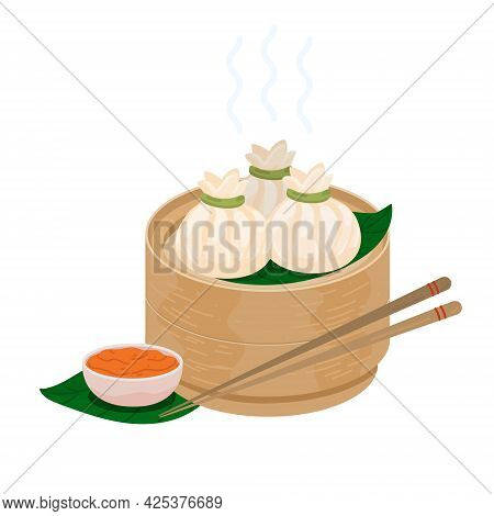 Xiaolongbao. Soup Dumplings. Chinese Steamed Bun Baozi. Steamed Xiaolong Bao Served In A Traditional