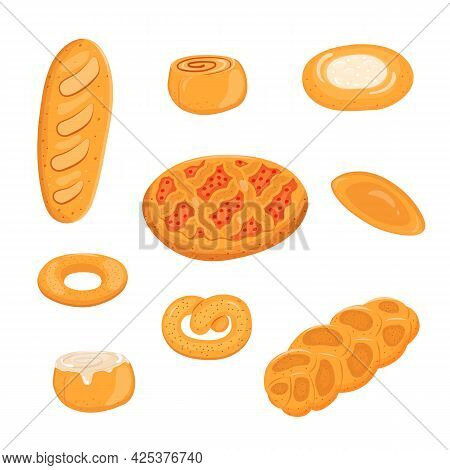 Vector Illustration Of A Set Of Bakery Products Isolated On A White Background.