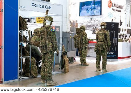 Military Uniform. Mannequins Dressed In Military Uniforms At The International Exhibition Arms And S
