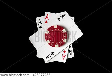 Poker Game With Three Of A Kind  Or Set Combination. Chips And Cards On The Black Table In Poker Clu