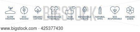 Sustainable Clothes Line Icon Set. Eco Viscose Product Logo. Slow Fashion Badge. Organic Cotton, Nat