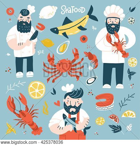 Cartoon Chief Cooks Holding Fried Fish, Lobster And Salmon Steak . Colorful Illustration With Seafoo