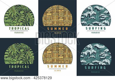 Surfing Tropical Hawaii Palm For T-shirt Print. Exotic Summer Plant For Tropic Surf Design