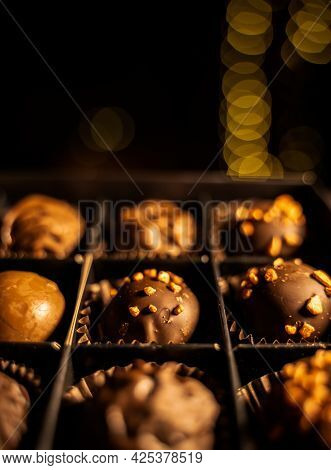 Delicious Chocolate Candies Or Pralines Or Truffles Ball, Mixed Assortment With Nuts, Dry Berries, D