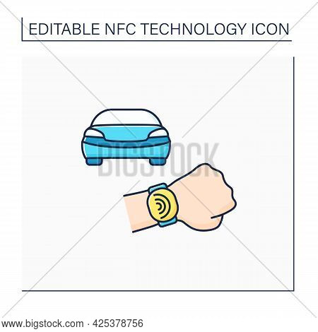 Nfc Color Icon. Safety Payment System On Smart Watch. Fast Driving Fines Paying. Modern Technology.