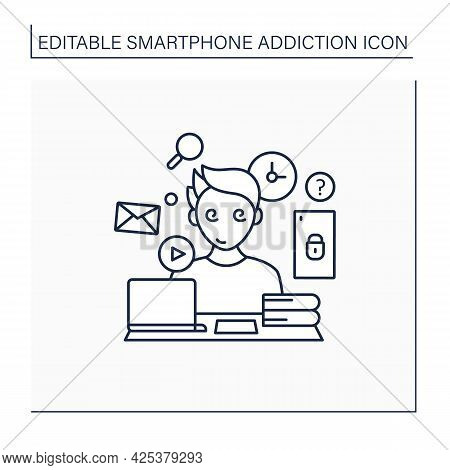 Information Overload Line Icon. Overwhelmed With Facts And Data.inability To Focus In Workspace.smar